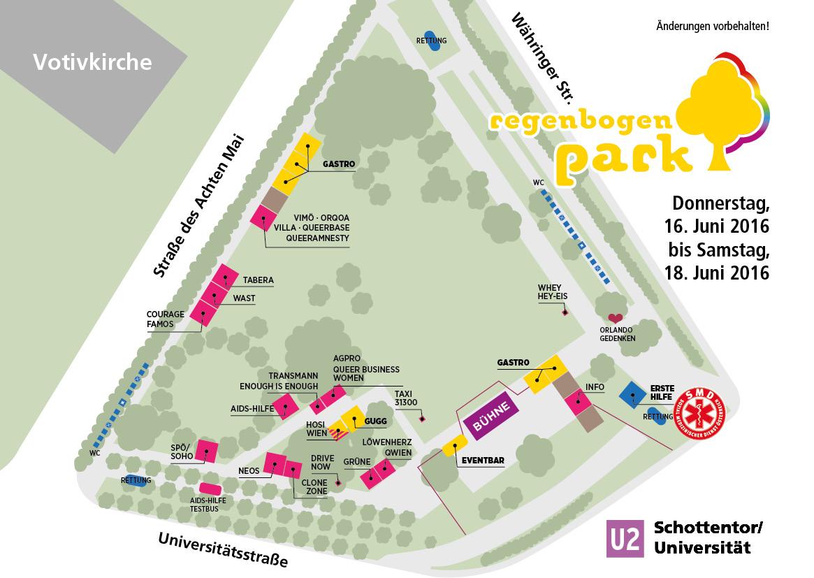 eine Karte des geplanten diesjährigen Regenbogenparks