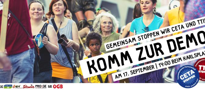 Europaweiter Aktionstag gegen CETA & TTIP am 17. September