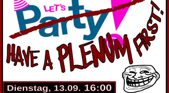 Plenum, 13.9. 16:00